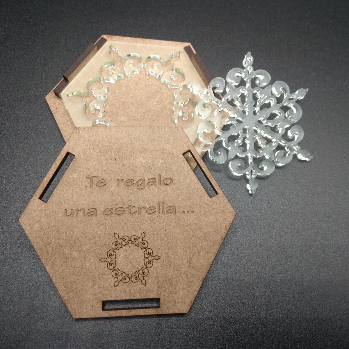 Estrella metacrilato con caja (modelo 2)