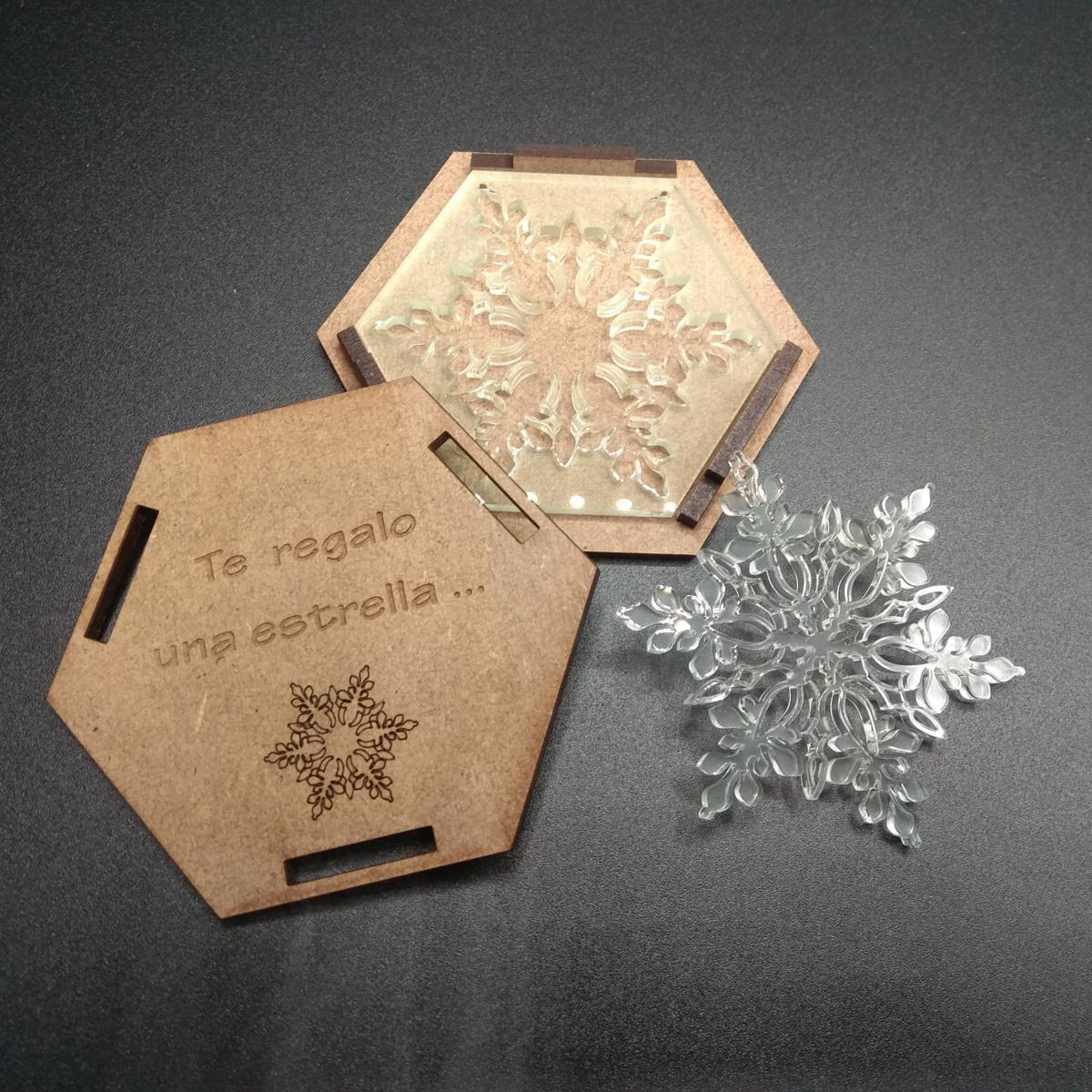 Estrella metacrilato con caja (modelo 3)
